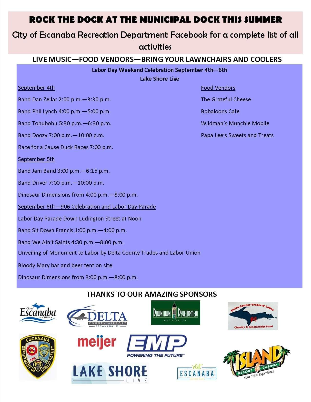 Rock the Dock 2021 flyer with concert dates and times